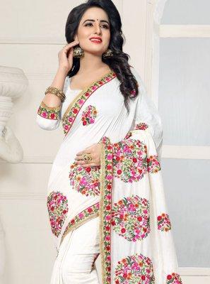 Silk Off White Designer Saree