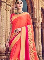 Silk Orange and Red Classic Designer Saree