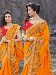 Silk Orange Embroidered Classic Saree