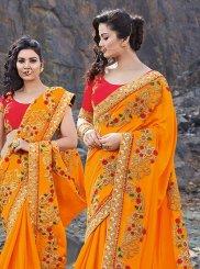 Silk Orange Embroidered Classic Saree