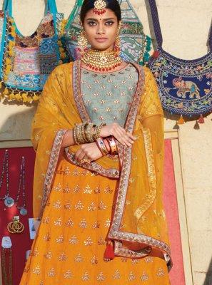 Silk Orange Embroidered Trendy A Line Lehenga Choli