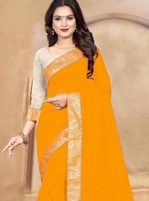 Silk Orange Patch Border Casual Saree