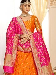 Silk Orange Weaving Designer Lehenga Choli