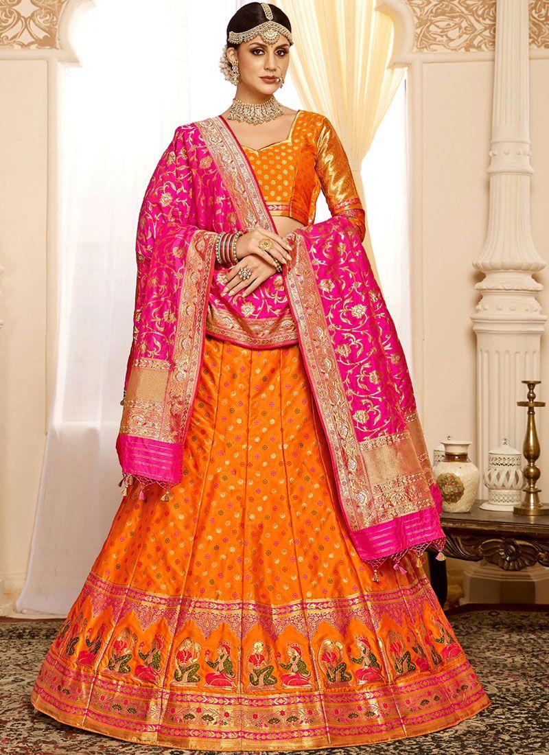 Silk Orange Weaving Designer Lehenga Choli