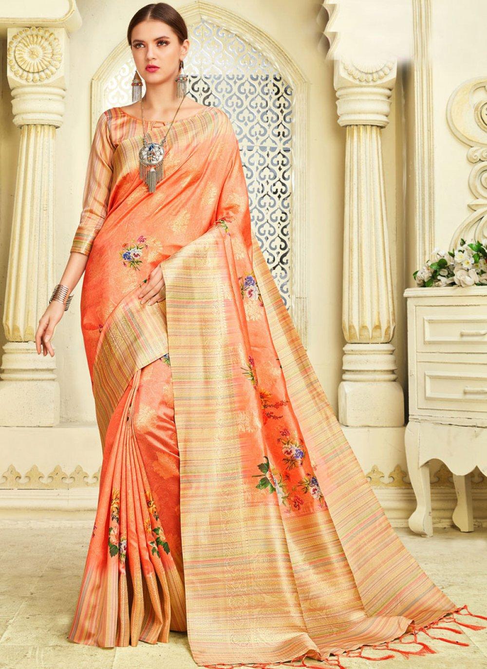 Silk Orange Zari Classic Saree