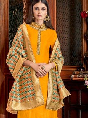 Silk Palazzo Salwar Suit in Yellow