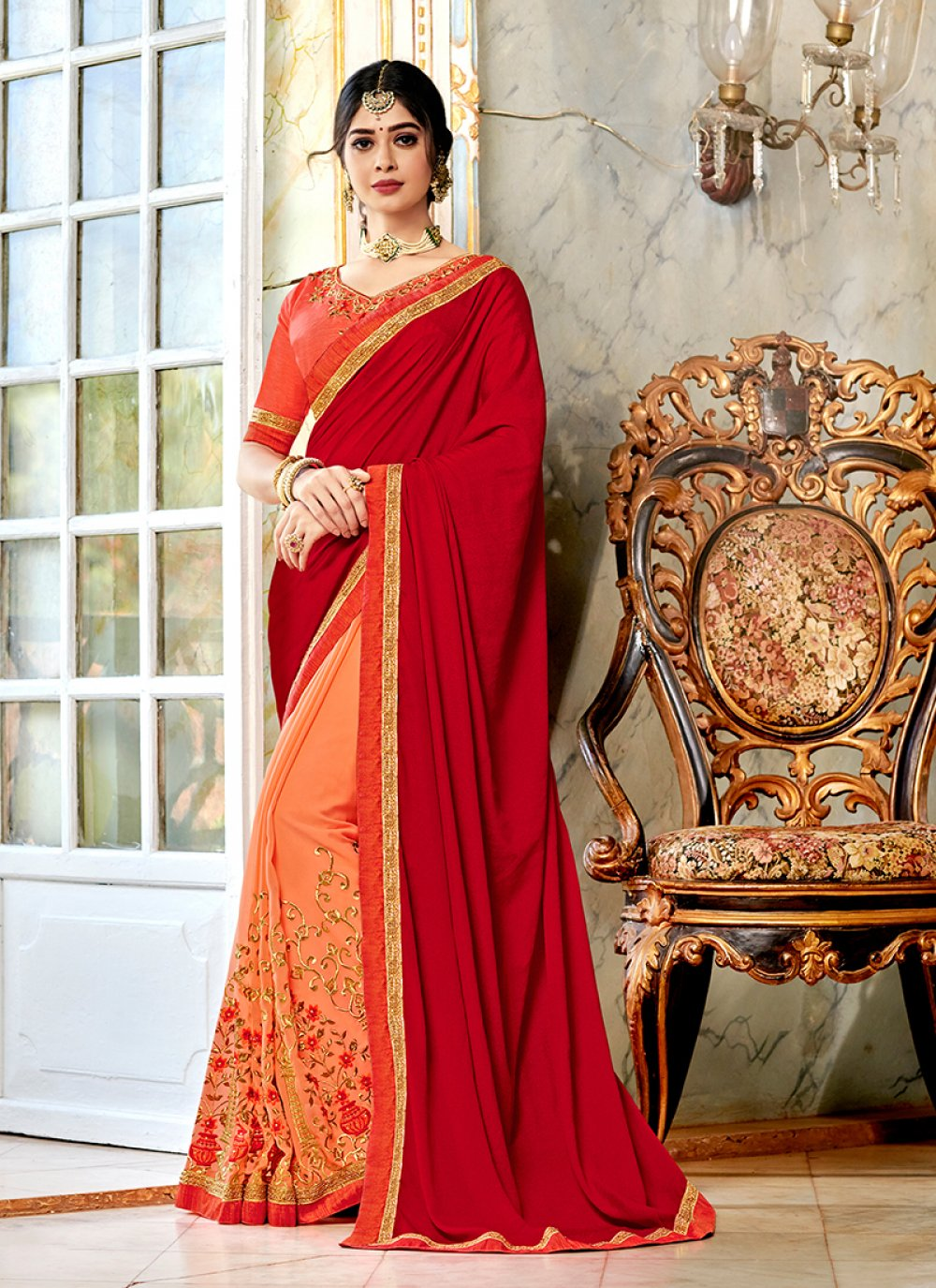 Silk Peach and Red Embroidered Half N Half Trendy Saree
