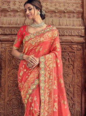 Silk Peach Classic Saree