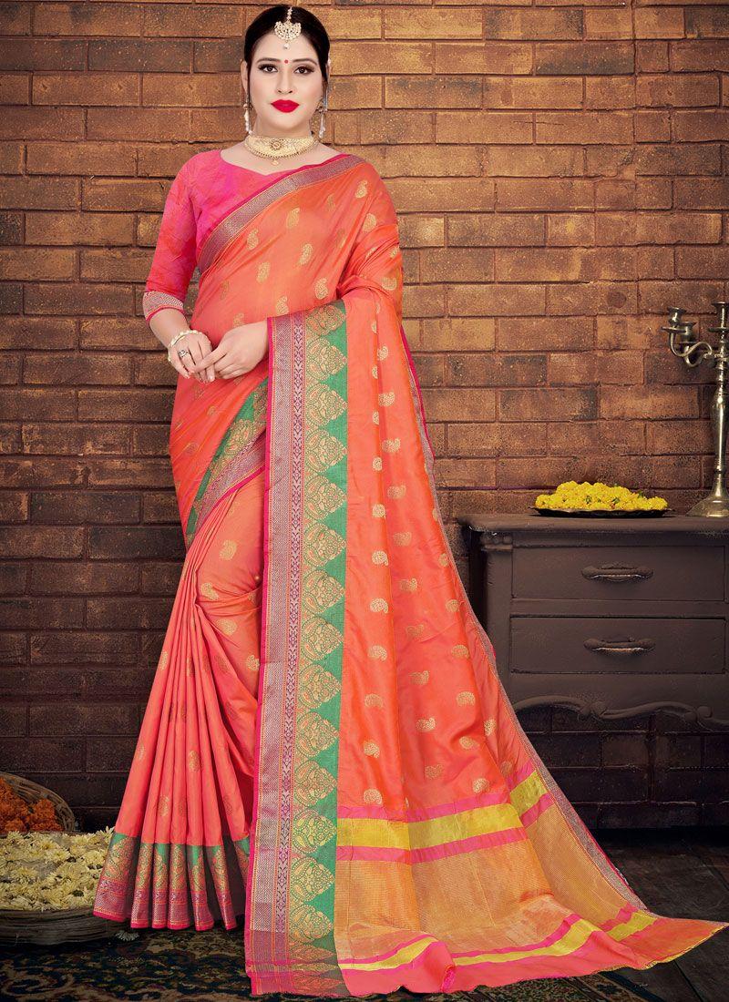 Silk Peach Weaving Casual Saree