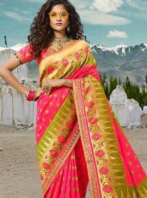 Silk Pink Embroidered Designer Traditional Saree
