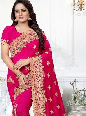 Silk Pink Stone Work Traditional Saree