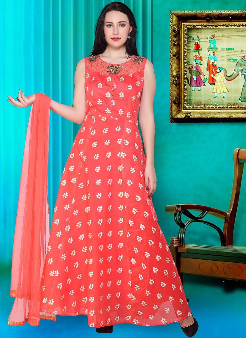 Silk Print Red Readymade Designer Gown