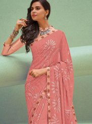 Silk Printed Classic Saree in Peach