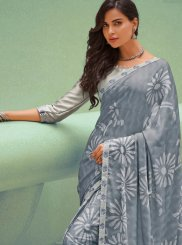 Silk Printed Traditional Saree in Grey