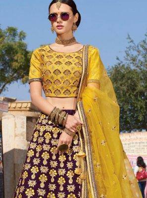 Silk Purple Trendy A Line Lehenga Choli