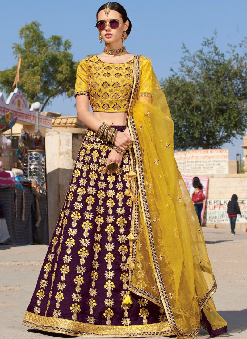 Silk Purple Trendy A Line Lehenga Choli