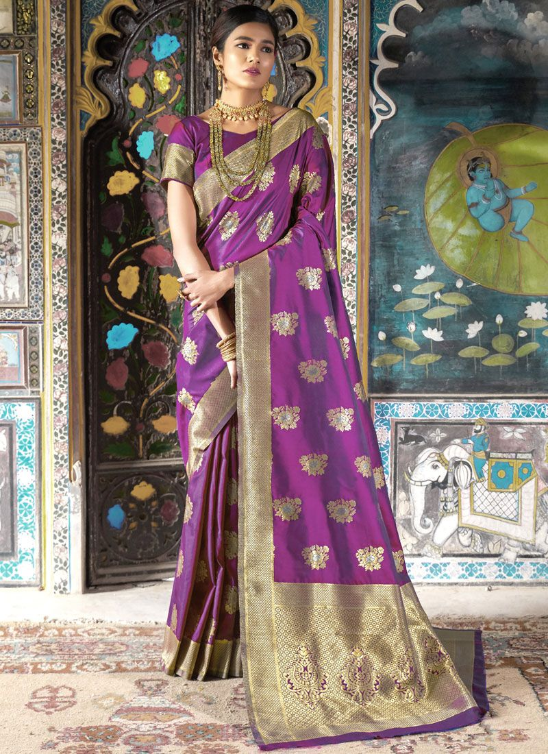 Silk Purple Weaving Traditional Saree