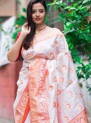 Silk Red and White Print Classic Designer Saree