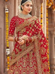 Silk Red Embroidered Designer A Line Lehenga Choli