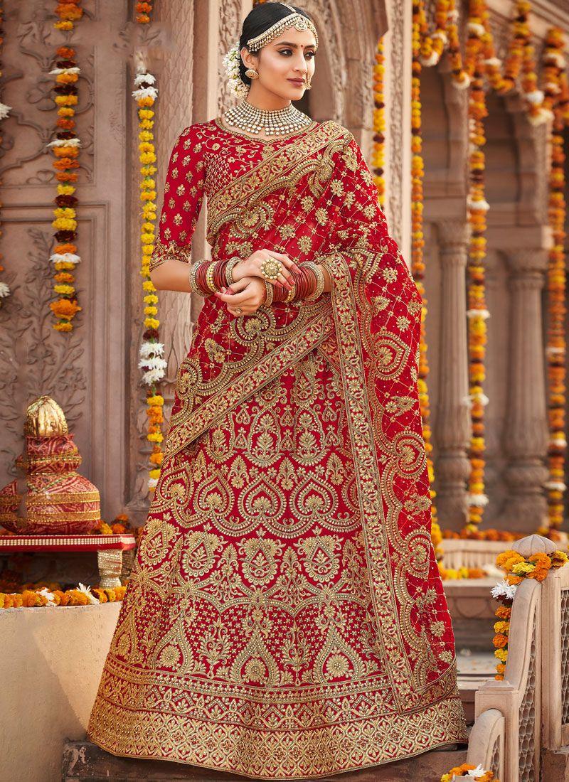 Silk Red Embroidered Designer A Line Lehenga Choli