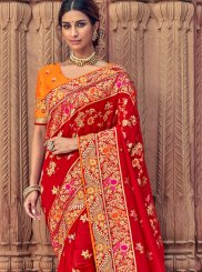 Silk Resham Designer Saree in Red