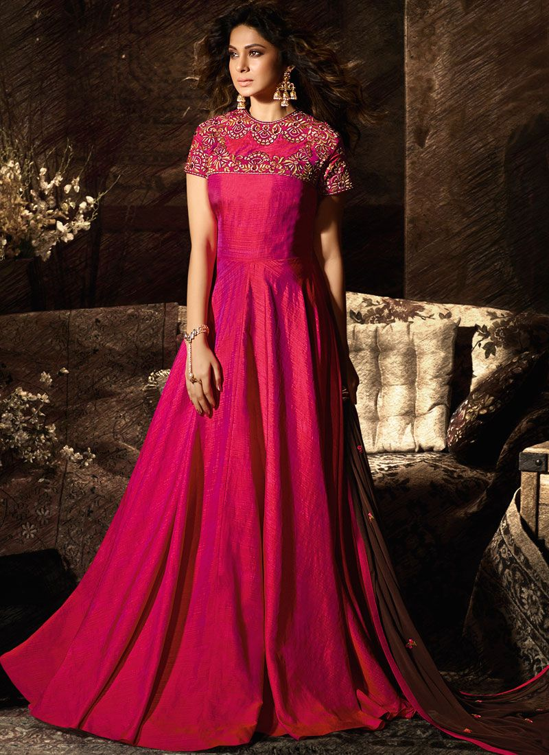 Silk Resham Desinger Anarkali Salwar Suit