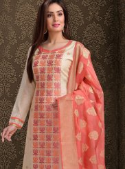Silk Resham Off White Churidar Salwar Suit