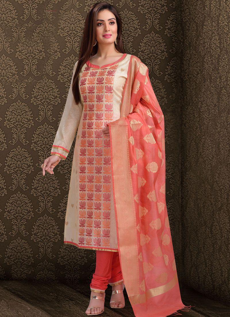 Silk Resham Off White Churidar Salwar Suit