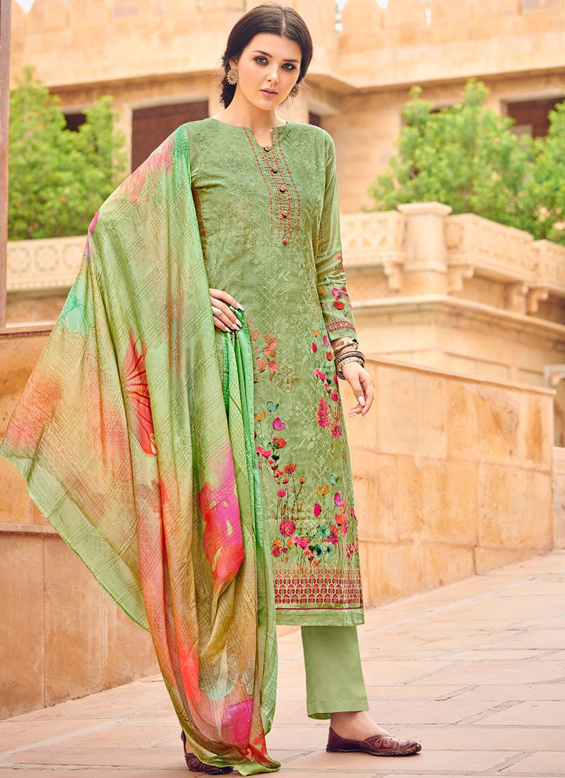 Silk Resham Sea Green Designer Palazzo Salwar Kameez