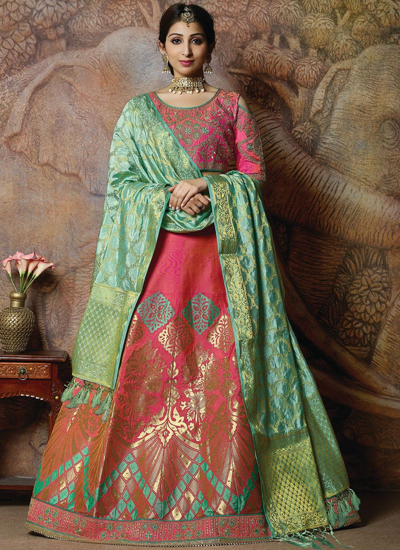 Silk Rose Pink Embroidered Designer Lehenga Choli