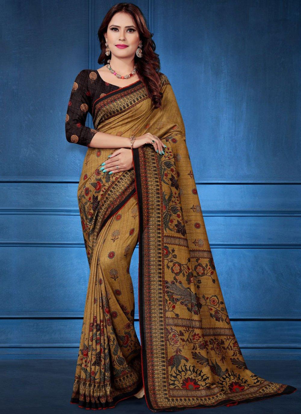 Silk Saree Digital Print Tussar Silk in Multi Colour