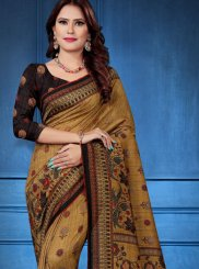 Silk Saree Digital Print Tussar Silk in Multi Colour