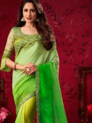 Silk Saree Patch Border Silk in Green