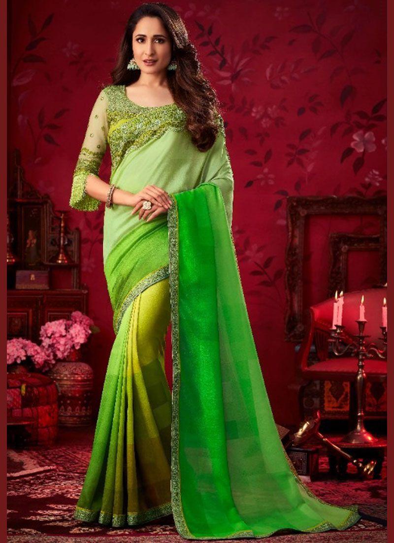 Silk Saree Patch Border Silk in Green