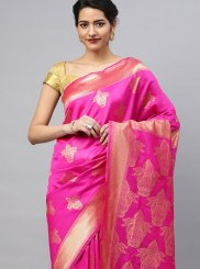 Silk Saree Weaving Art Silk in Hot Pink