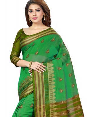 Silk Sea Green Weaving Casual Saree