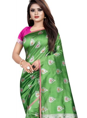 Silk Sea Green Weaving Silk Saree