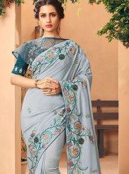 Silk Silver Handwork Silk Saree
