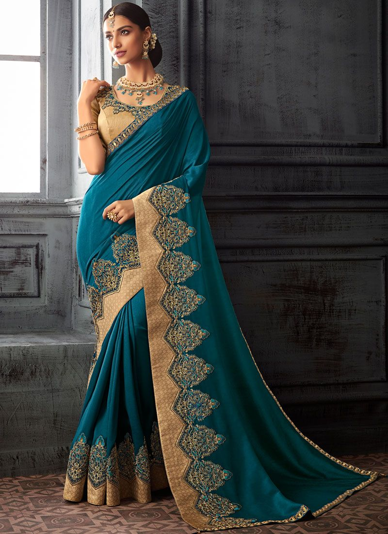 Silk Stone Work Designer Saree in Blue