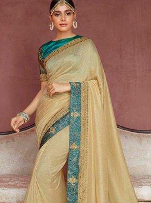 Silk Stone Work Gold Designer Saree