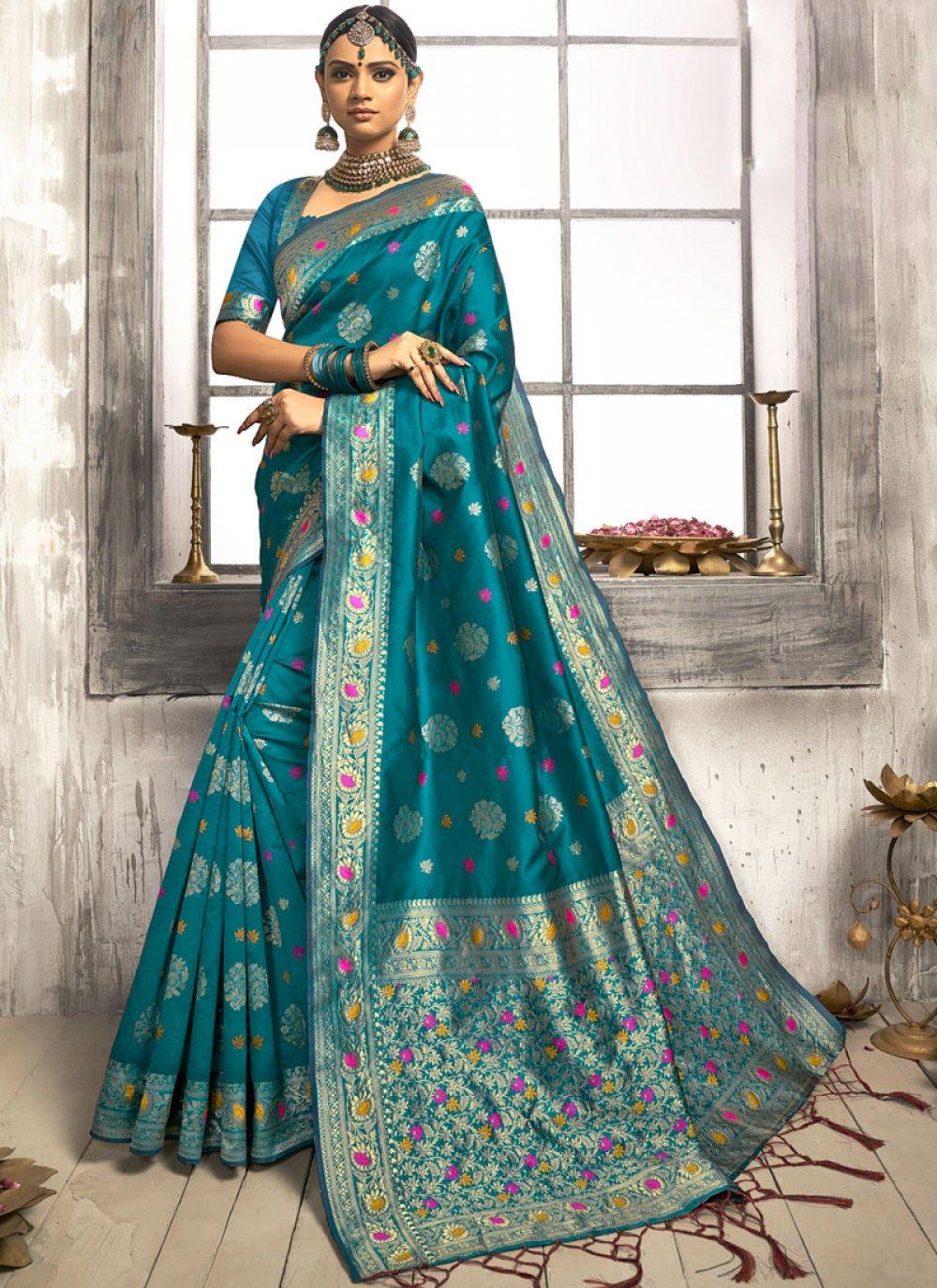 Silk Teal Trendy Saree