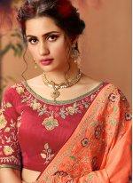 Silk Thread Work Orange Trendy Saree