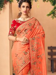 Silk Thread Work Orange Trendy Saree