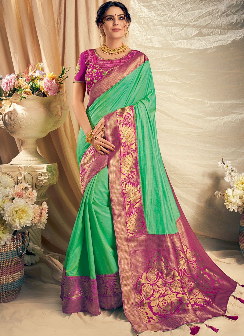 Silk Thread Work Trendy Saree in Green