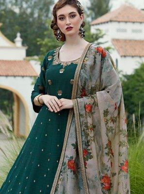 Silk Trendy Anarkali Salwar Kameez in Green