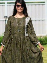 Silk Trendy Gown in Green