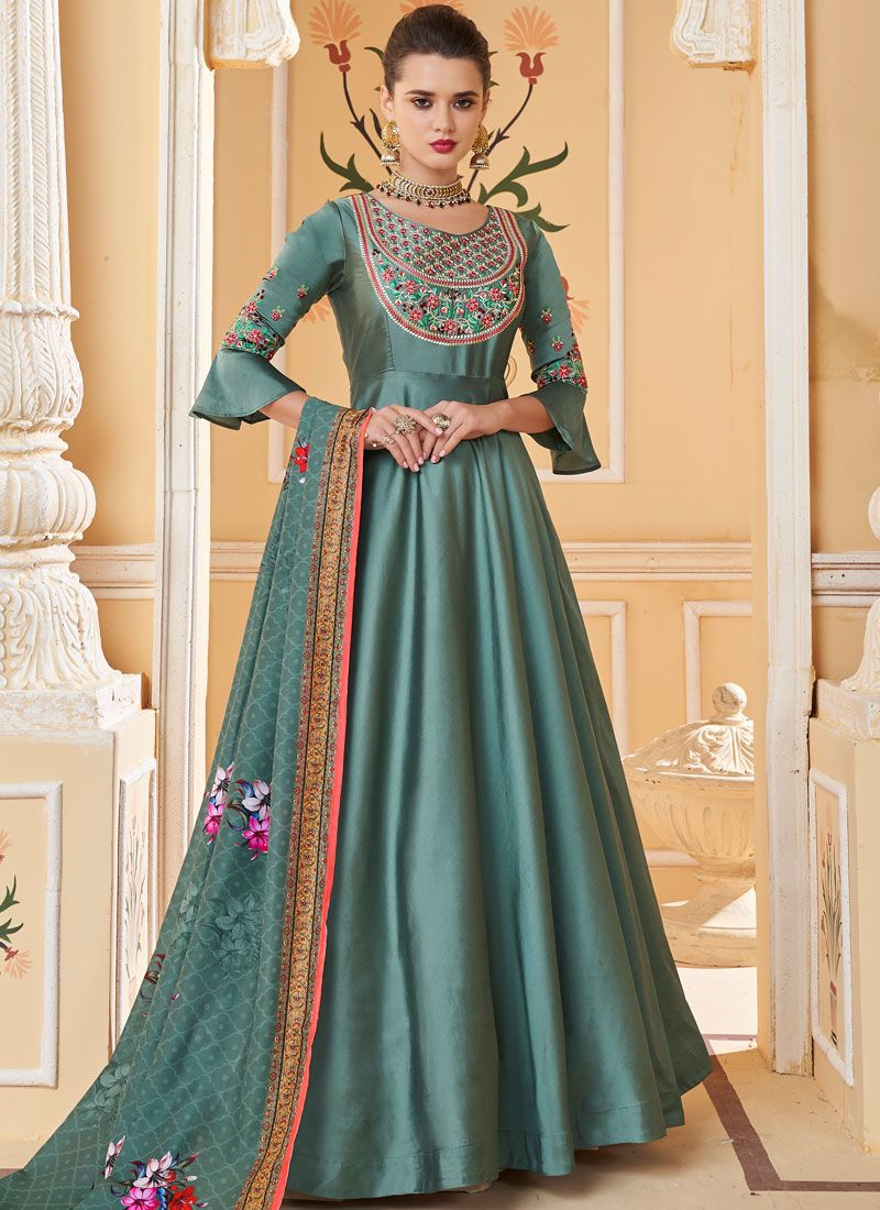 Silk Trendy Gown in Teal