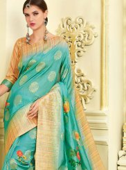 Silk Turquoise Traditional Saree