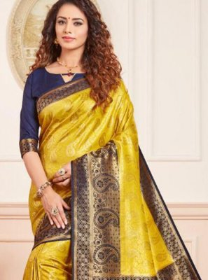 Silk Weaving Blue and Yellow Traditional Saree