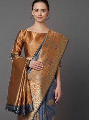 Silk Weaving Brown and Grey Classic Designer Saree